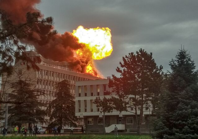 A picture taken on January 17, 2019 in Villeurbanne near Lyon, shows an explosion on a rooftop of La Doua University Campus