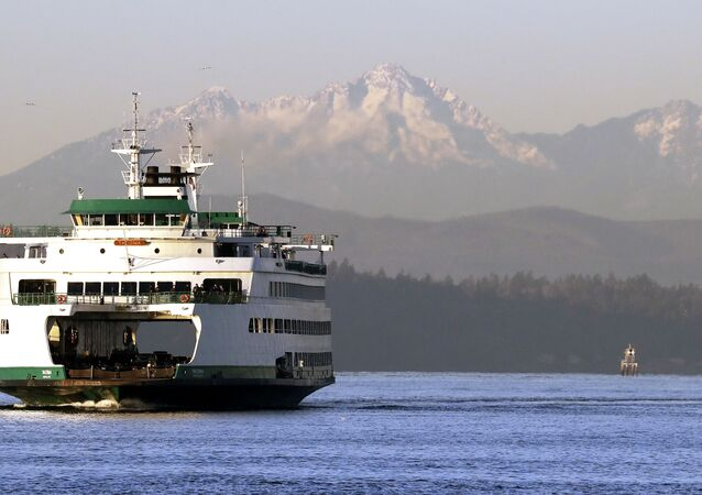 The Washington state ferry Tacoma crosses the Puget Sound in view of the Olympic mountains behind Thursday morning, Dec. 6, 2018, in Seattle.