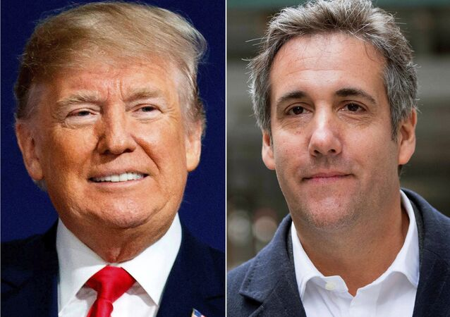 This combination photo shows President Donald Trump and attorney Michael Cohen.