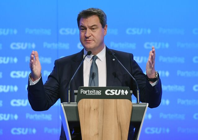 Bavaria's State Premier Markus Soeder of Germany's conservative Christian Social Union (CSU) party, gives a speech during his party's congress on January 19, 2019 in Munich, southern Germany.
