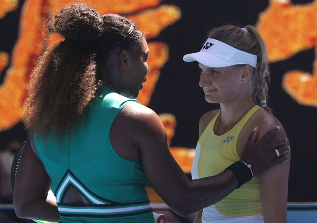 Tennis - Australian Open - Third Round - Melbourne Park, Melbourne, Australia, January 19, 2019. Serena Williams of the U.S. interacts with Ukraine's Dayana Yastremska after winning the match