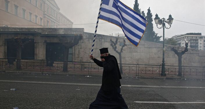Participant of the protest in Athens