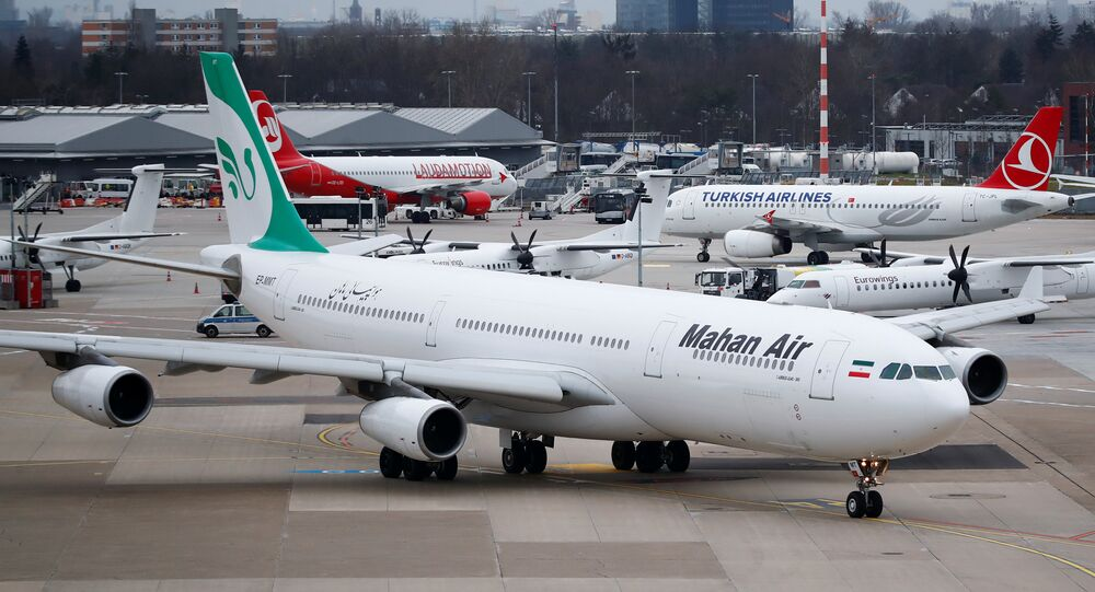An Airbus A340-300 of Iranian airline Mahan Air taxis at Duesseldorf airport DUS, Germany January 16, 2019