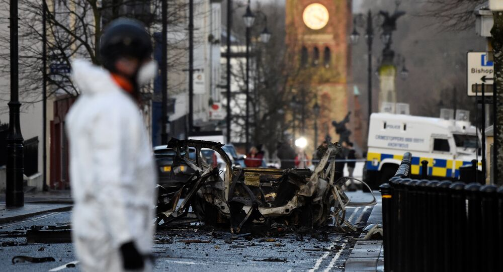 The scene of a suspected car bomb is seen in Londonderry, Northern Ireland, 20 January , 2019
