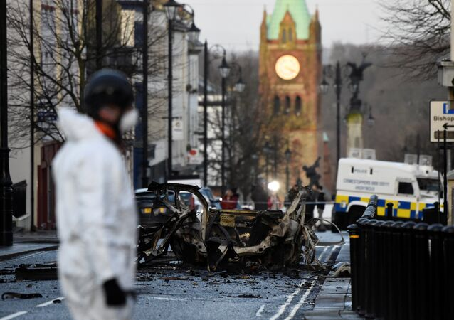 The scene of a suspected car bomb is seen in Londonderry, Northern Ireland January 20, 2019
