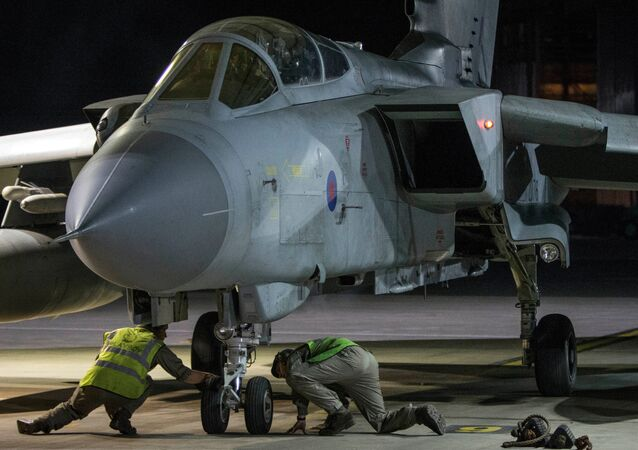 RAF Tornado taxis into its hangar after conducting strikes on 14 April 2018 in Syria