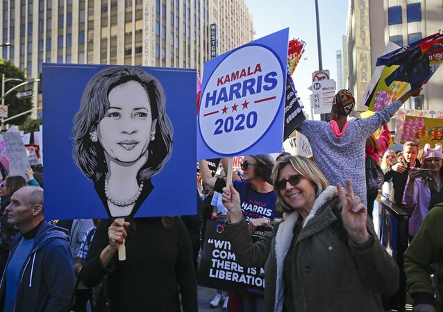 Supporters of Kamala Harris in the streets of Los Angeles on 19 January 2019