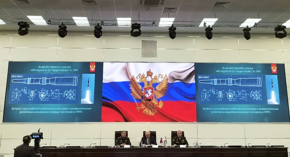 From left, Col. Sergei Zabello, Deputy Foreign Minister Sergey Ryabkov and Russian Missile Troops and Artillery Commander Col.Gen. Mikhail Matveevsky speak during the Intermediate-Range Nuclear Forces Treaty (INF) briefing in Moscow, Russia. Russia's 9M729 missile is the modernized version of Iskander-M 9M728 missile and its maximum flight range is 298.3 miles that complies with the INF treaty, Matveevsky said