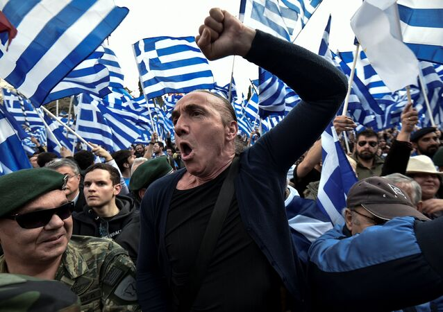 People demonstrate in Athens, on January 20, 2019, against the agreement with Skopje to rename neighbouring country Macedonia as the Republic of North Macedonia.