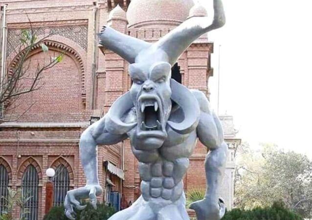 A 20-feet-high 'satanic' sculpture