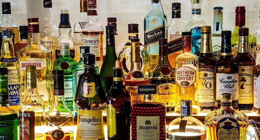 Bottles of liquor, bar