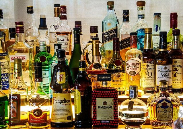 Bottles of liquor, bar