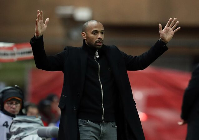 Thierry Henry makes an exasperated gesture as Monaco lose another game in January 2019