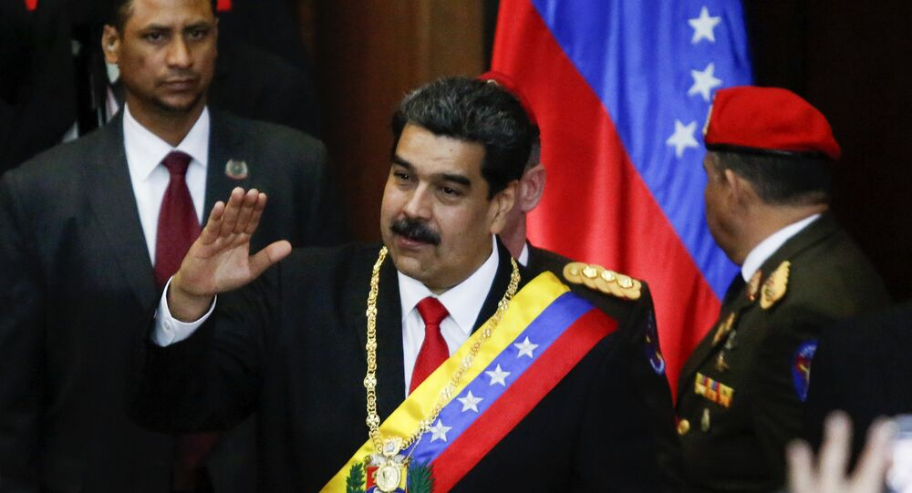 The President of Venezuela, Nicolas Maduro, before starting his speech at the headquarters of the Supreme Court of Venezuela.