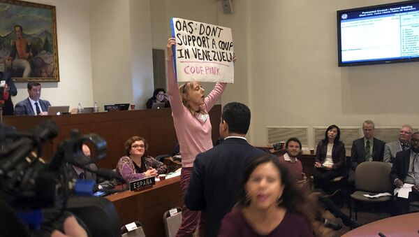 Activist Medea Benjamin with the group Code Pink, heckles remarks by Secretary of State Mike Pompeo during an extraordinary session about the crisis in Venezuela held by the Organization of American States, Thursday Jan. 24, 2019 in Washington. - Sputnik International