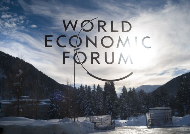 The sign of the World Economic Forum, WEF, is displayed on the entrance door at the congress centre on the eve of the meeting in Davos, Sunday, 20 January 2019.