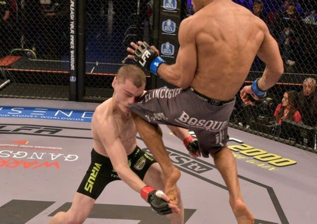 Luiz Antonio Lobo Gavinho lands a flying knee kick that knocked out Vince Fricilone at Legacy Fighting Alliance 58 in Albuquerque, New Mexico on 26 January