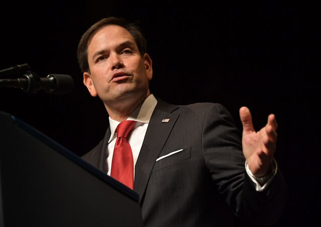 US Senator Marco Rubio speaks before the arrival of US President Donald Trump at the Manuel Artime Theater in Miami, Florida on June 16, 2017