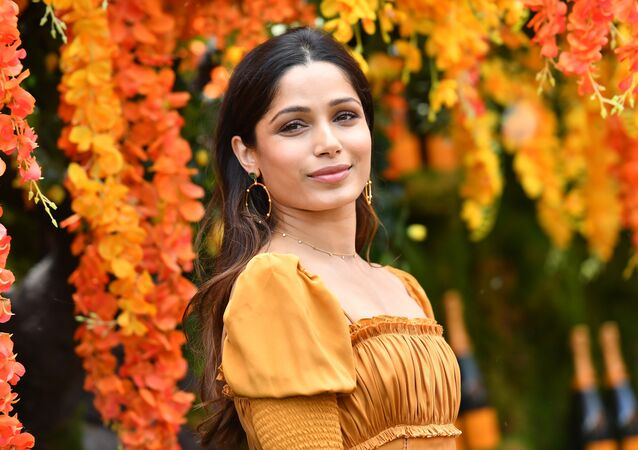 Freida Pinto attends the 11th Annual Veuve Clicquot Polo Classic at Liberty State Park on June 2, 2018 in Jersey City, New Jersey