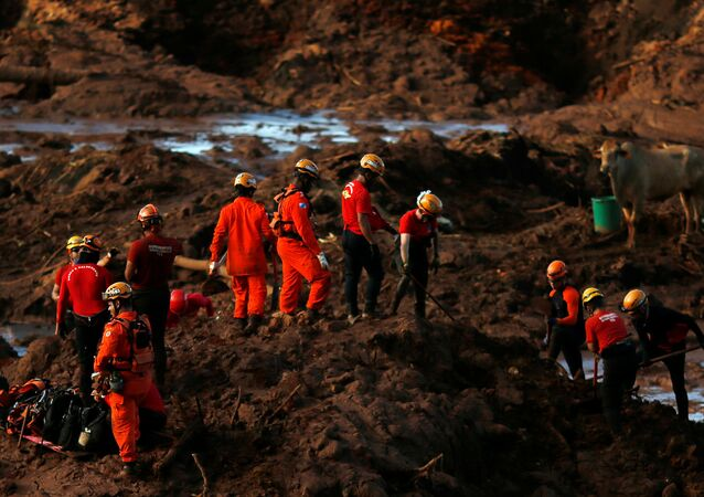 Members of a rescue team search for victims after a tailings dam owned by Brazilian mining company Vale SA collapsed, in Brumadinho, Brazil January 28, 2019