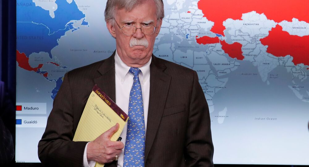 U.S. National Security Adviser John Bolton arrives to address reporters as the Trump administration announces economic sanctions against Venezuela and the Venezuelan state owned oil company Petroleos de Venezuela (PdVSA) during a press briefing at the White House in Washington, U.S., January 28, 2019
