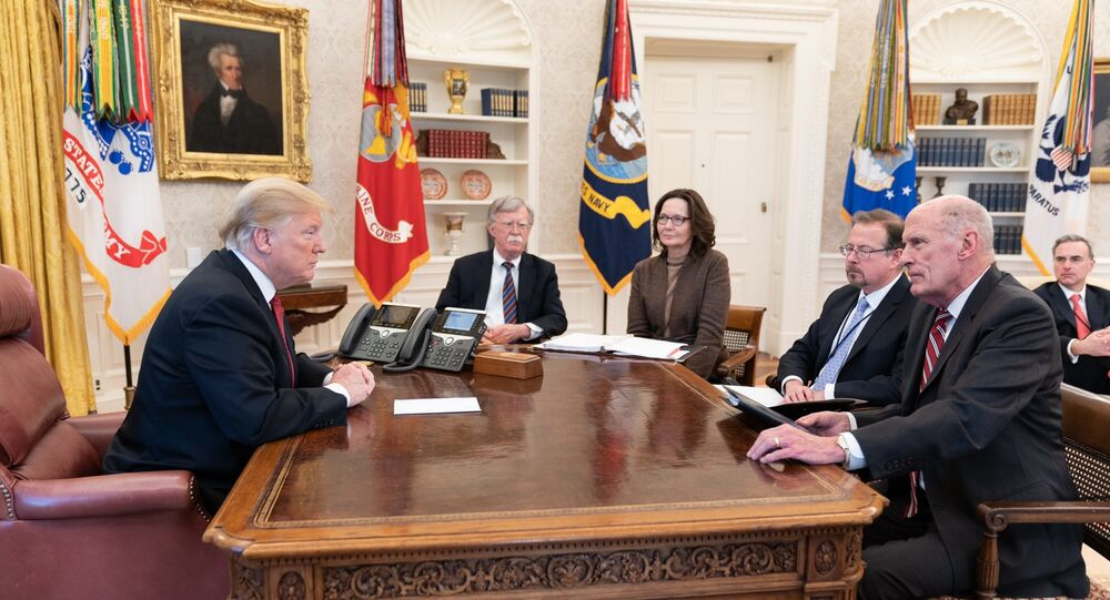 Donald Trump meeting with intelligence chiefs in the Oval Office