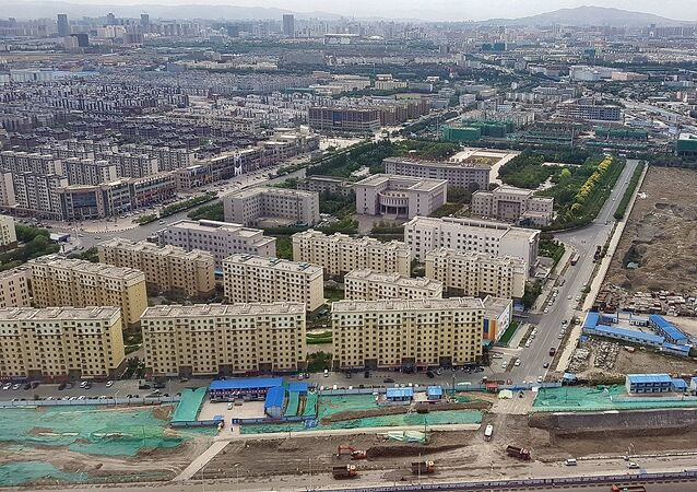Aerial view of Urumqi, Xinjiang Province, PR China