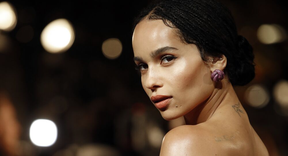Actress Zoe Kravitz poses at the world premiere of the film Fantastic Beasts: The Crimes of Grindelwald in Paris, Thursday, Nov. 8, 2018.
