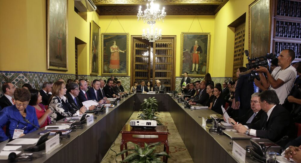 Foreign Ministers of the Lima Group gather for a meeting concerning Venezuela, in Lima, Peru, Friday, Jan. 4, 2019