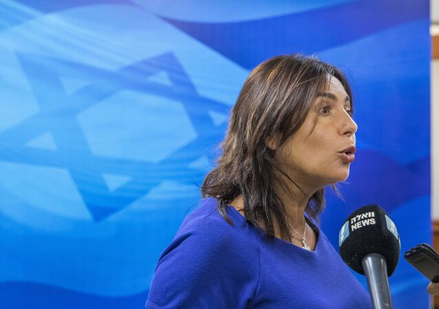 Miri Regev, Israel's Minister of Culture and Sport, addresses journalists before the weekly cabinet meeting at the prime minister's office in Jerusalem, Sunday, August 12, 2018.