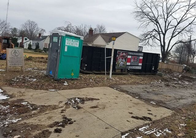 A Rent-a-John portable toilet in Arlington, Ohio
