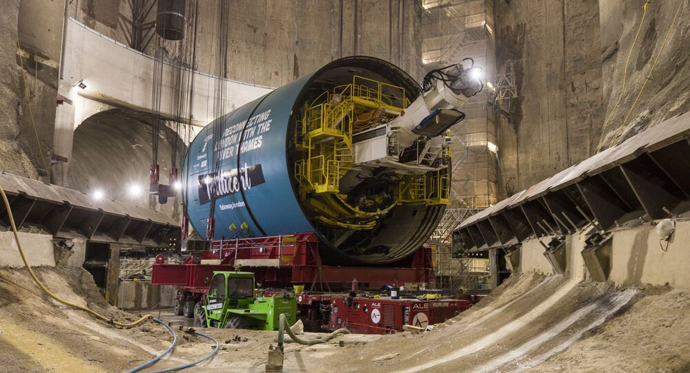 One of the giant boring machines which will be used to build the Thames Tideway tunnel