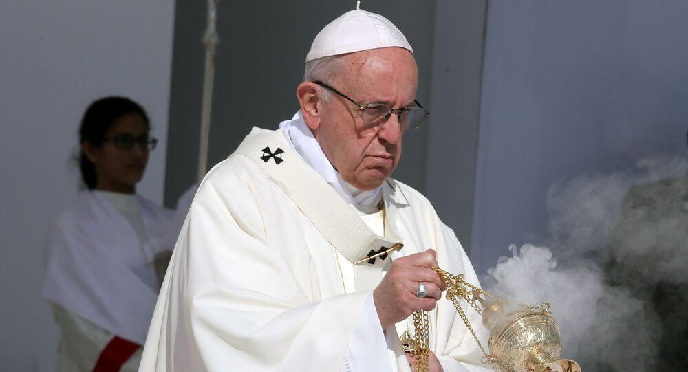 Pope Francis holds a mass at Zayed Sports City Stadium in Abu Dhabi, United Arab Emirates, February 5, 2019.