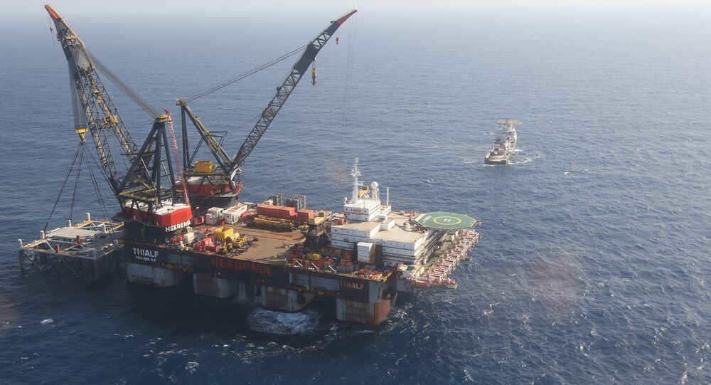 Israeli drilling platform at Leviathan natural gas field