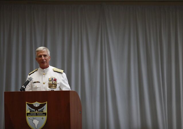 US Navy Adm. Craig Faller speaks during a change of command ceremony at the n U.S. Southern Command headquarters on Monday, Nov. 26, 2018, in Doral, Fla.