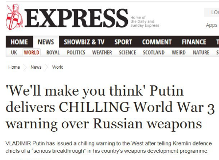 Screengrab from the Daily Express: Putin delivers CHILLING World War 3 warning over Russian weapons