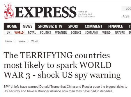 Screengrab from The Daily Express: The TERRIFYING countries most likely to spark World War 3 - shock US spy warning