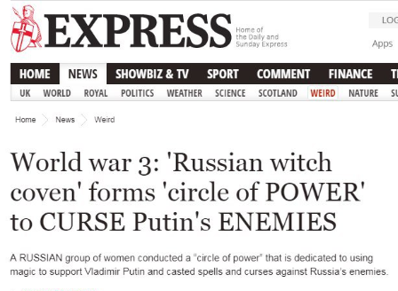 Screengrab from the Daily Express: World War 3: 'Russian witch coven' forms 'circle of POWER' to CURSE Putin's ENEMIES