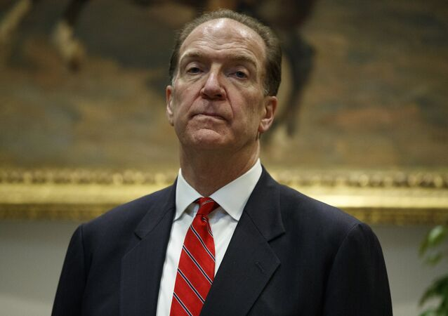 David Malpass, under secretary of the Treasury for international affairs, listens as President Donald Trump announces his nomination to head the World Bank, during an event in the Rosevelt Room of the White House, Wednesday, Feb. 6, 2019, in Washington