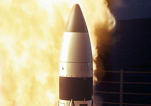 Standard Missile Three (SM-3) being launched from the vertical launch system (VLS) Mk-41