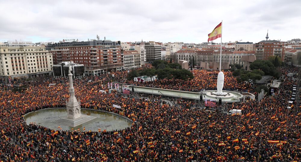 People gather during a protest called by right-wing opposition parties against Spanish Prime Minister Pedro Sanchez at Colon square in Madrid, Spain, February 10, 2019.