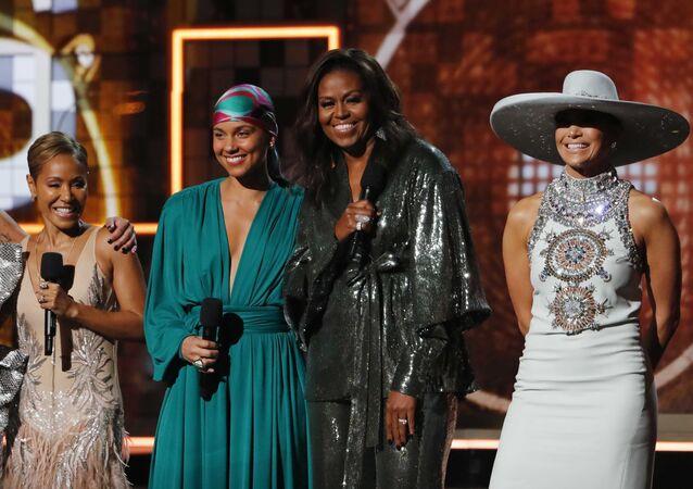 61st Grammy Awards - Show - Los Angeles, California, U.S., February 10, 2019 - Lady Gaga, Jennifer Lopez, Alicia Keys, former first lady Michelle Obama and Jada Pinkett Smith