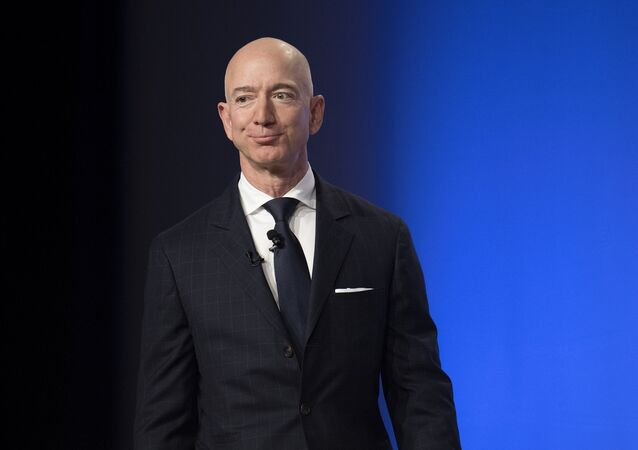 Amazon and Blue Origin founder Jeff Bezos provides the keynote address at the Air Force Association's Annual Air, Space & Cyber Conference in Oxen Hill, MD, on September 19, 2018