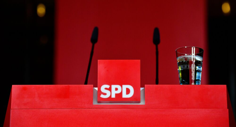 The pulpit is empty after the leader of Germany's social democratic SPD party (unseen) gave a statement in reaction to the results of the state elections in Hesse (Hessen) at the SPD headquarters in Berlin, on October 28, 2018.  Tobias SCHWARZ / AFP