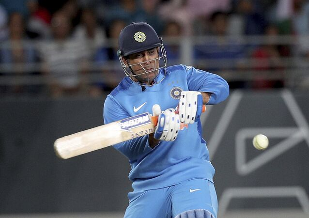 India's MS Dhoni bats during their twenty/20 cricket international match against New Zealand at Eden Park in Auckland, New Zealand, Friday, Feb. 8, 2019.