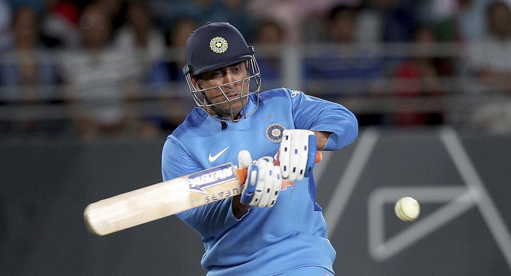 India's MS Dhoni bats during their twenty/20 cricket international match against New Zealand at Eden Park in Auckland, New Zealand, Friday, 8 February 2019.