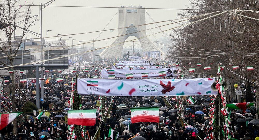 Iranian people gather during a ceremony to mark the 40th anniversary of the Islamic Revolution in Tehran, Iran February 11, 2019