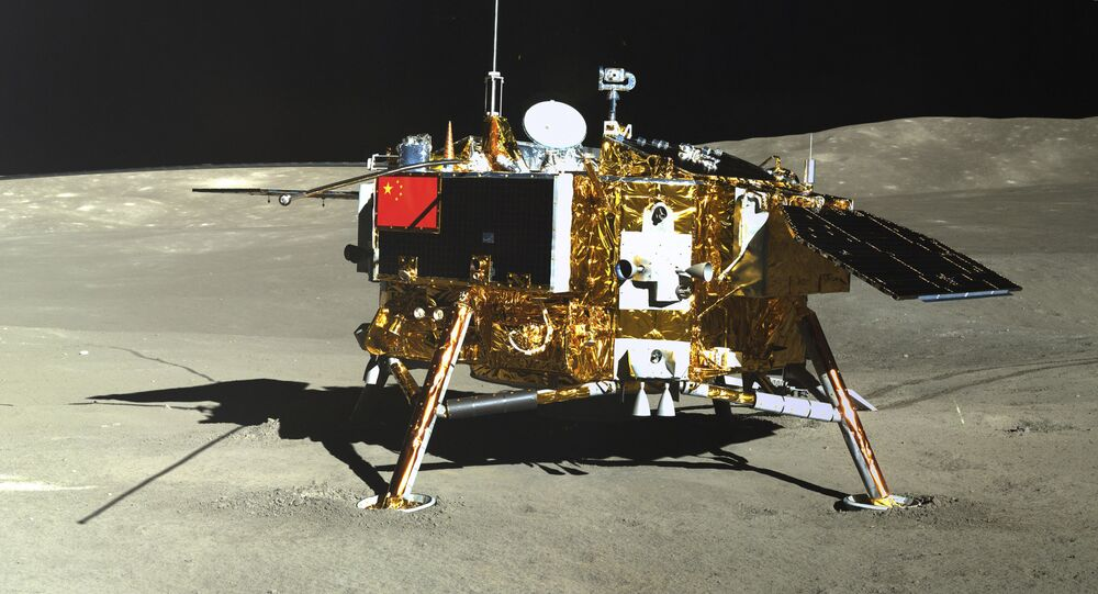 In this photo provided Jan. 12, 2019, by the China National Space Administration via Xinhua News Agency, the lunar lander of the Chang'e-4 probe is seen in a photo taken by the rover Yutu-2 on Jan. 11, 2019