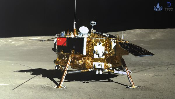In this photo provided Jan. 12, 2019, by the China National Space Administration via Xinhua News Agency, the lunar lander of the Chang'e-4 probe is seen in a photo taken by the rover Yutu-2 on Jan. 11, 2019 - Sputnik International