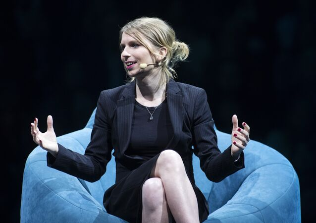 Former US soldier Chelsea Manning speaks during the C2 conference in Montreal, Quebec, on May 24, 2018